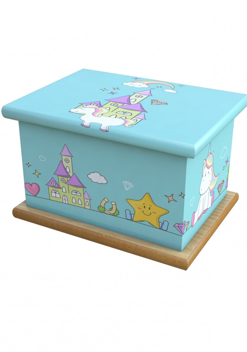 Unicorn Castle Cremation Ashes Wooden Child/Infant Urn