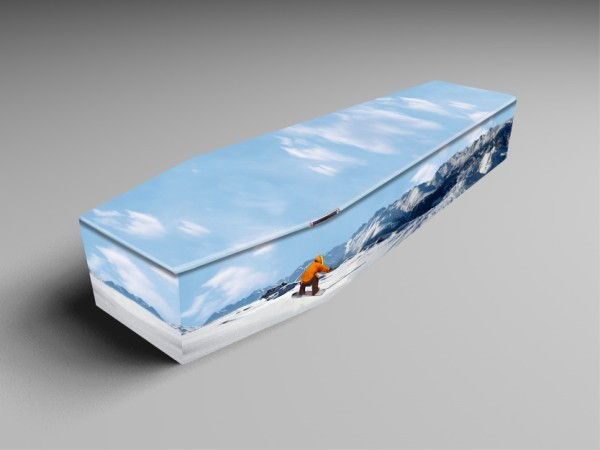 snowboarder, scuba, rugby printed coffins