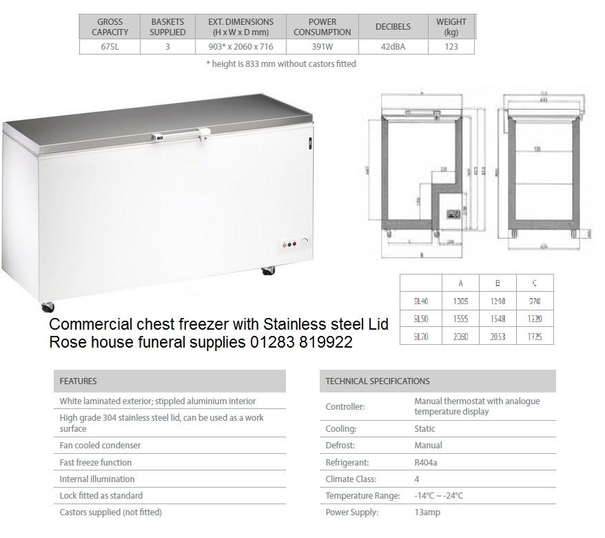 Commercial single body Cadaver Chest freezer