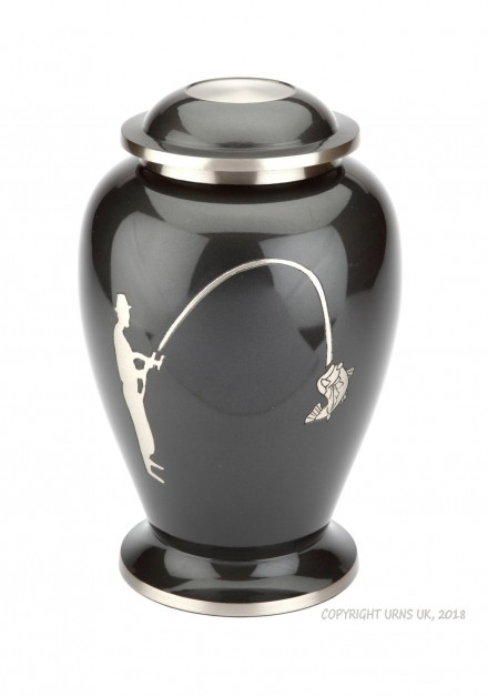 HOBBY FISHING GREY CREMATION ASHES URN