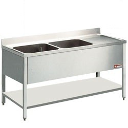 Mortuary Double Sink with right side drain surface