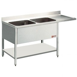 Stainless steel mortuary double sink with overhang ledge