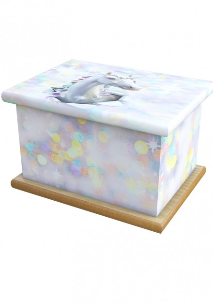 Unicorn Bubbles Cremation Ashes Wooden Child/Infant Urn