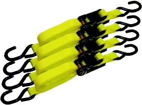 Ratchet Tie Down Set 4pc 1'' X 15'
