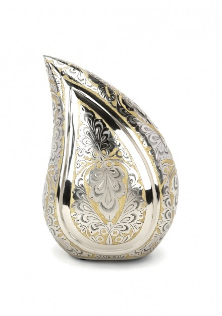 TORQUAY TEARDROP SILVER & GOLD ENGRAVED CREMATION ASHES URN